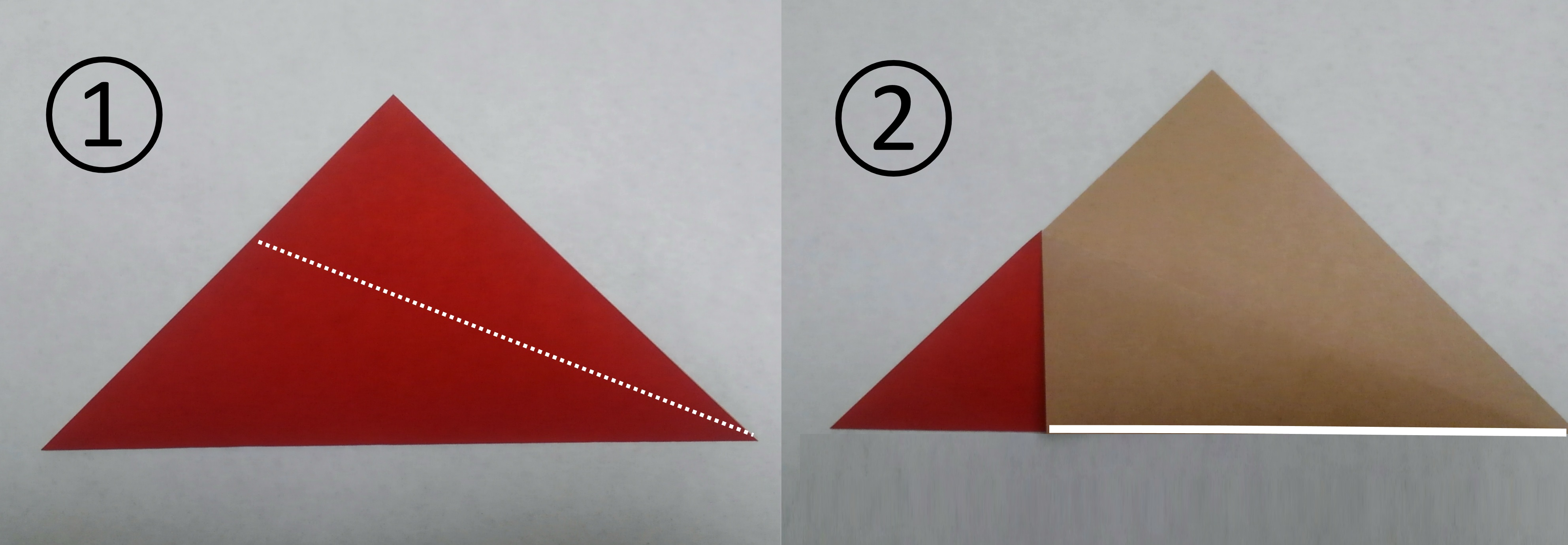 花菖蒲リースの折り紙の作り方1と2