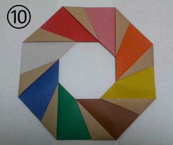 花菖蒲リースの折り紙の作り方10