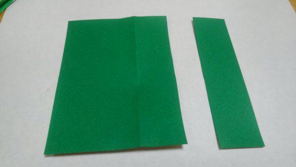 花菖蒲の葉と茎の折り紙の作り方手順1