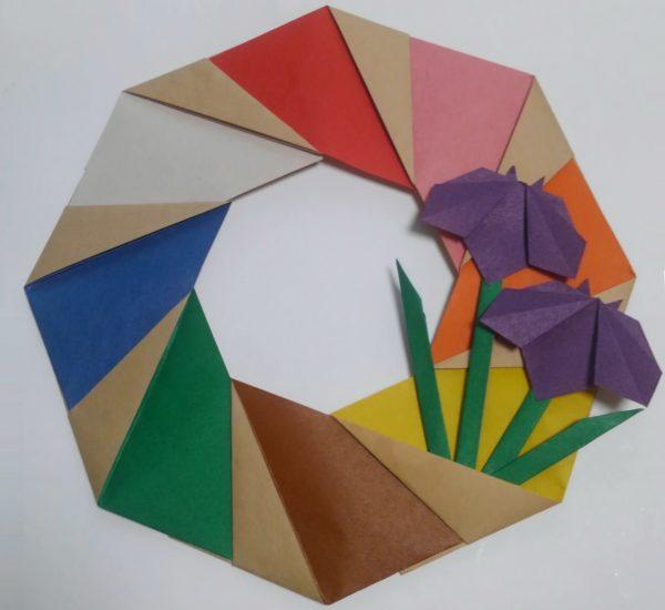 花菖蒲リースの折り紙の作り方完成